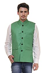 Routeen Green Casual Partywear Ethnic Nehru Jackets for Men