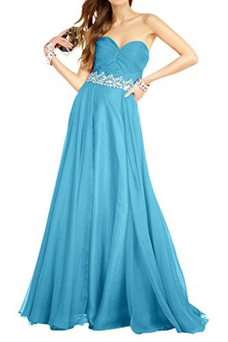 Royaldress Schoenes Chiffon DunkelRoyal Blau Abendkleider Brautjungfernkleider Promkleider Steine Guertel Lang Hell Blau