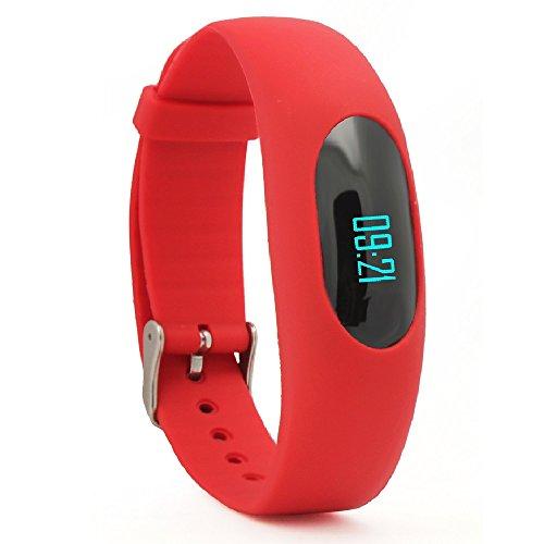 Non Bluetooth Pedometro,YAMAY® Bracciale Fitness Orologio Contapassi Fitness Tracker con Visualizzazione Data e Ora / Conta Passi / Conta Calorie / Calcolo della Distanza /Tempo Sport / Monitoraggio Sonno (Rosso)