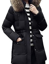 Wenyujh Femme Manteau Hiver Epaisse Mi-long avec Capuche Fausse Fourrure Blouson Veste Chaud Doudoune Parka Casual Fashion