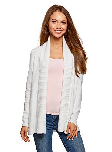 oodji Collection Damen Verschlussloser Strickcardigan, Weiß, DE 34 / EU 36 / XS