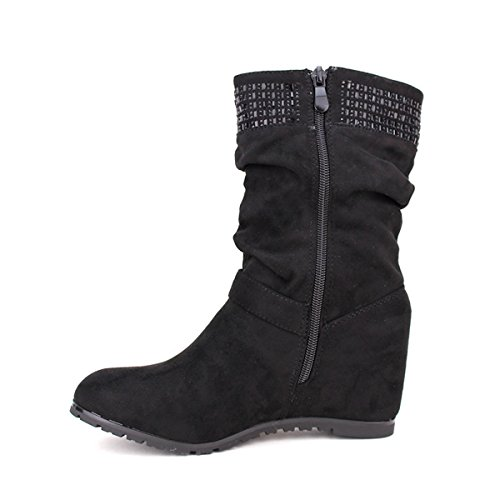 Cendriyon, Bottine noire Daim MIALANA Chaussures Femme Noir