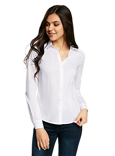 oodji Ultra Damen Taillierte Bluse mit V-Ausschnitt, Weiß, DE 34/EU 36/XS
