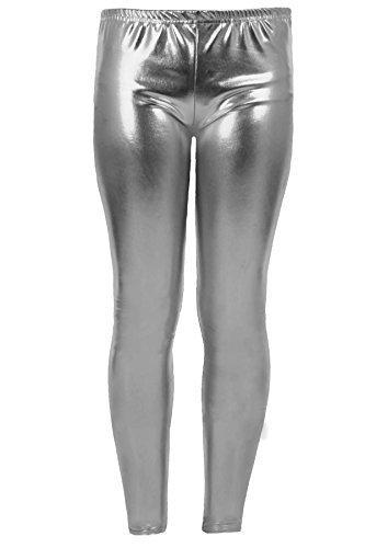 (FANTASIA BOUTIQUE Mädchen Kinder Metallisch Glänzend Kinder Lack-optik Party Disco Hosen Leggings - Silbern, 146-152)