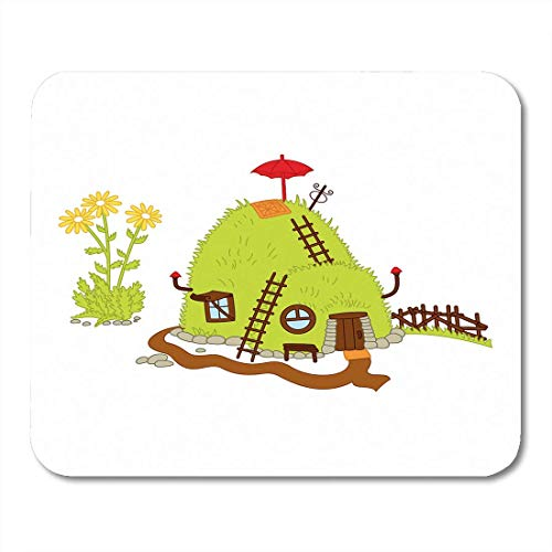 AOHOT Mauspads Brown Branch Magic Hill House in The Forest for Gnomes Green Cartoon Clip Mouse pad 9.5