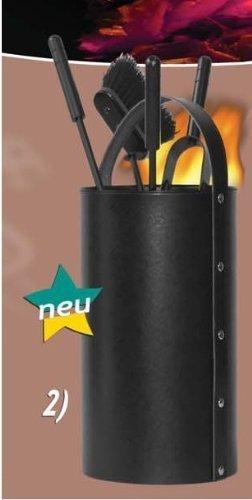 Kamin Besteck regeneriertes Leder schwarz inkl. Besteckteile