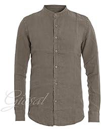 Giosal Camicia Uomo Lino Vari Colori Tinta Unita Slim Collo Coreano 6a5101fee81