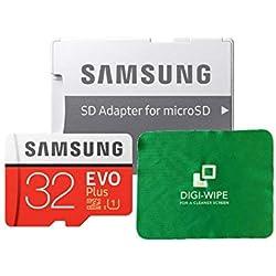 Carte mémoire Micro SD Evo Plus pour téléphone Portable Samsung Galaxy J1, J2, J3, J5 et J7 - Chiffon de Nettoyage en Microfibre Inclus 32 Go