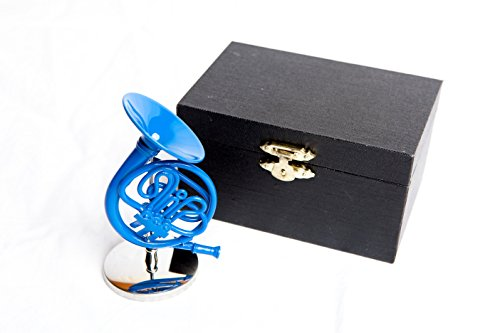 Decorative 10cm Blue French Horn with Case, inspired by How I Met Your Mother