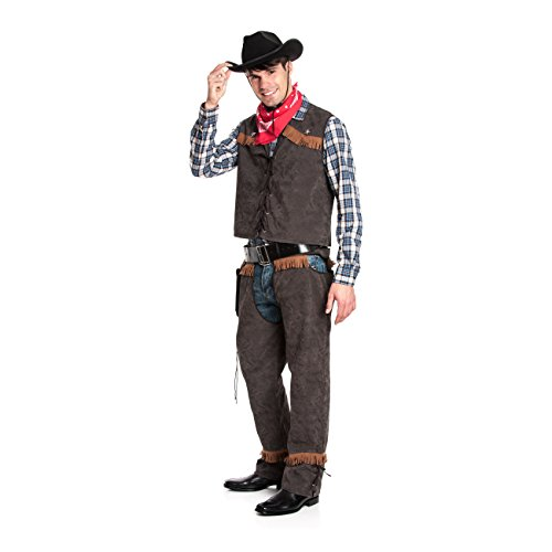 Wild Kostüme West Männer (Kostümplanet® Cowboy-Kostüm Herren mit Weste und Chaps + Halstuch Größe)