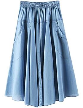 YuanDian Mujer Verano Ocio Literatura Y Arte Estilo Cintura Elástica Faldas Plisada Vuelo Bolsillo Oscilación...