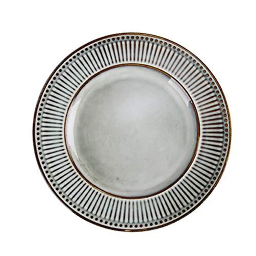 LI plaque- Vaisselle en céramique ronde japonaise rétro - Sushi Cuisine Sashimi Cake Dessert Plat de pâtes (1 emballage) tableware (taille : M)