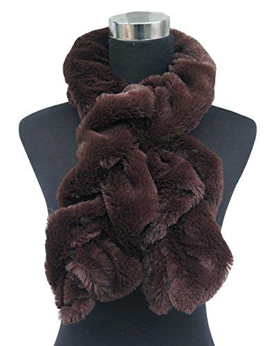 LINA & Lily Twist elasticizzato in finta pelliccia donna inverno sciarpa scaldacollo Brown Taglia