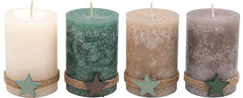 4 Adventskerzen Kerzen Stumpenkerzen Holz Stern Mint Taupe Beige Weihnachten Advent Deko Weihnachtsdeko