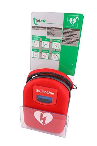 Saver One AED Defibrillator A1 m. vollautom. Auslösung (SVO-B0847) mit Design-Acrylglaswinkel mit Erste Hilfe Tafel