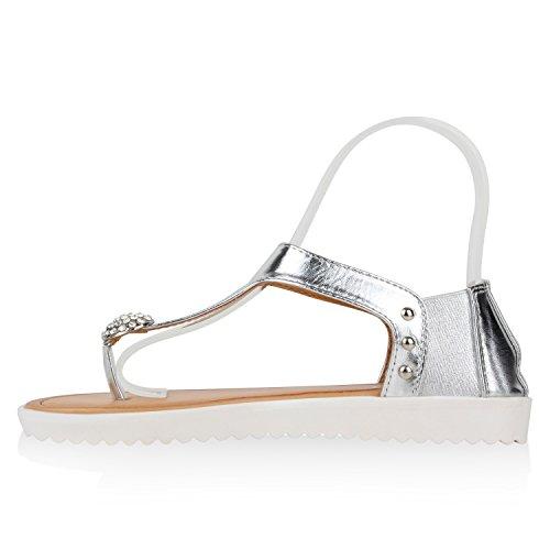 Damen Komfort-Sandalen Metallic Sandale Bequemschuh Profilsohle Silber Brosche