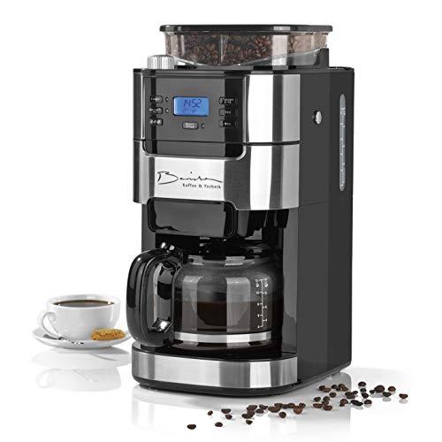 Barista Filterkaffeemaschine mit Mahlwerk | Inkl. Glas-Kanne für bis zu 12 Tassen Kaffee | Für Kaffeebohnen und Kaffeepulver [ 1,5 Liter / 900 Watt / Edelstahl ]