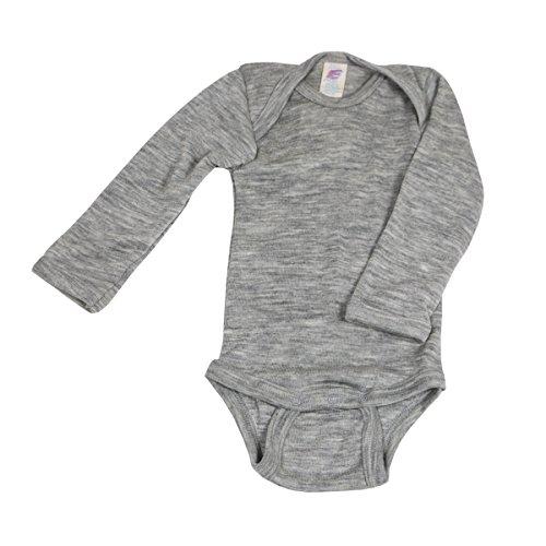 Baby Body langarm, Wolle Seide, Engel Natur, 2 Farben, Gr. 50/56 - 110/116 (74/80, Hellgrau melange)