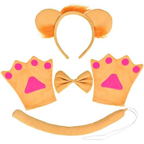 Ohren Kostüm Und Set Lion Schwanz - Boao Löwe Cosplay Kostüm Set, Einschließen Ohren Stirnband Schwanz Kragen Pfoten für Kinder Weihnachten Kostüm Party