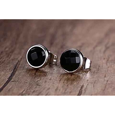 YC Top elegante in acciaio inox agata nera orecchini a perno uomo - 1 Lb Tin