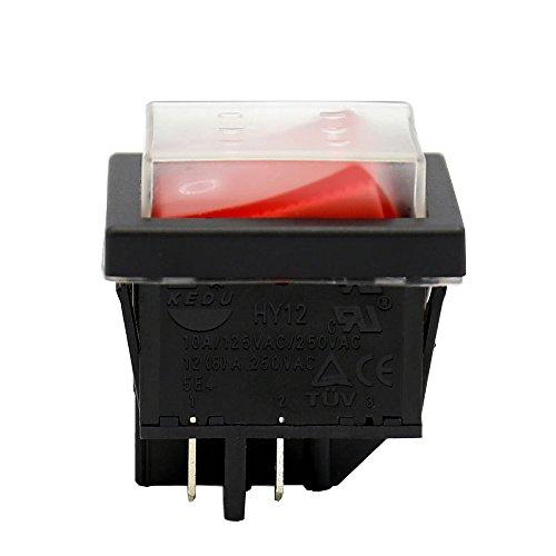 KEDU HY12 4 Pins AC 250V 12(8) A Wasserdichte EIN-AUS Druckschalter Civil Electric Tool Drucktaster Wippschalter 2-Pack