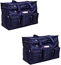 Travel Air Bag XXL Very Light Weight Set of 2 Bags, Compact Packing Duffel Bag, Water Resistant, Easy Care Travelling & Storage Bag, Extra top Compartment, Multiple Pockets_Blue