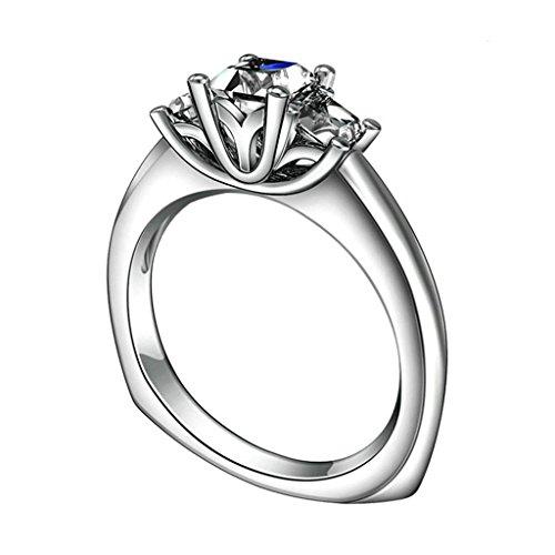 Daesar Silberring Damen Ring Silber Ehering für Damen Verlobungsring Benutzerdefinierte Ring 4-Prong 3 Link Strass Ring Größe:58 (Kostüme Benutzerdefinierte Halo)