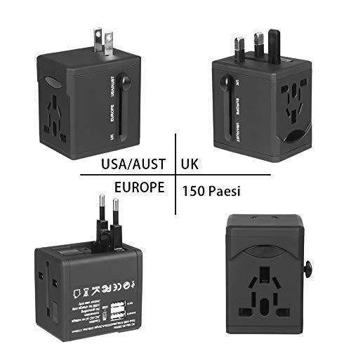 Adattatore Universale da Viaggio [Pulchram] Adattatore con 2 USB Caricabatterie Multifunzione Ricarica Jack Adattatore Travel Adapter Adattatore Universale Adatta più di 150 Paesi-EU, US, UK, AU, AS