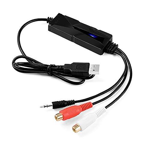 V.TOP Enregistreur Convertisseur de Audio USB - Carte de Audio Grabber USB 2.0 pour Audio Cassettes Lecteur pour MAC OS X & Windows
