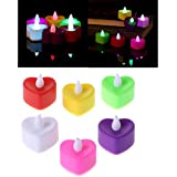 CITRA 24 Pack Color Changing LED Heart Shaped Diwali Tea Lights, Flameless Tealight Candles With Rainbow Colors, Battery Operated Colored Fake Candles For Weeding, Party And Christmas, No Flickering Light