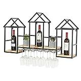 WANG XIN Casier à vin en Bois Massif Mural café décoratif Mural Armoire à vin casier à vin en Verre casier à vin (Couleur : Bronze)