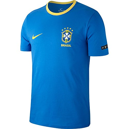Nike 888320-403 Camiseta, Hombre, Signal Blue/Midwest Gold, FR : L (Taille Fabricant : L)