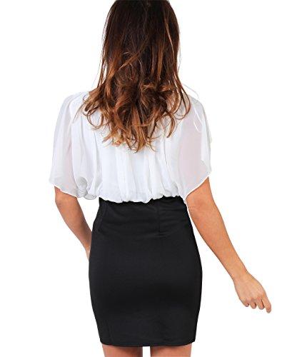 KRISP® Damen Kleid Chiffon Stretch Minikleid Cremeweiß (3632)