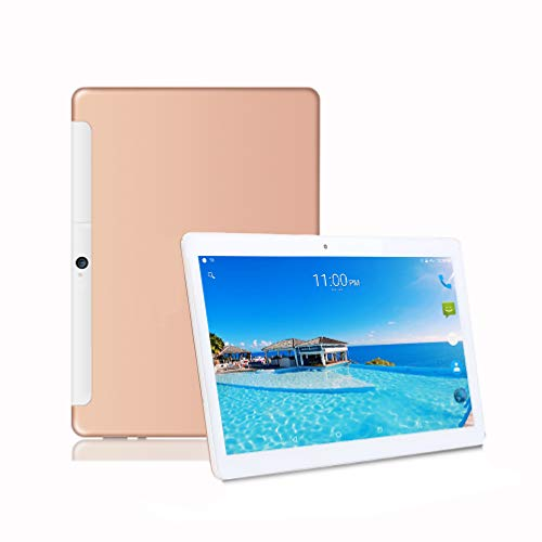 Tablet10Zoll, 25,65 cm (10,1) Tablets PC Android 8.0, 3G,4G LTE,HD, WiFi,GPS,GSM,Deca-Core,Dual SIM Card, 64GB ROM,6GB RAM,2.8GHZ,1920X1200 IPS, (Gold(Deca-Core)) (Tablet 4g Gsm)
