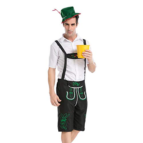 Kostüm Landwirt - Herren Trachten Lederhose Oktoberfest Performance Kleidung Beer Bavarian Kostüm Komplett Set, Trachtenlederhose Mit Trägern, Herren Arbeiter Uniform, Landwirt Spiel Leistung