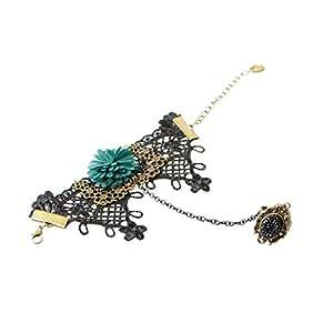 Weinlese handgemachte Spitze schwarz Blume Slave Armband Fingerring setzt Gothic Schmuck