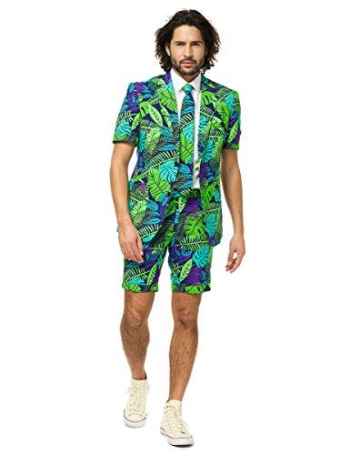 Opposuits Juicy Jungle Anzug für Herren besteht aus Sakko, Hose und Krawatte mit Urwald Print