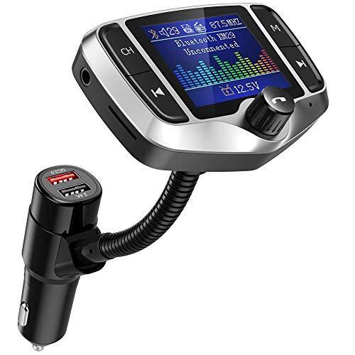 """FM Transmitter, NULAXY 1.8"""" Farbbildschirm Transmitter (2019 NEU) W/QC 3.0 untstützt Auto Batterie Lesen/Handsfrei Anrufen/unterstützt USB/TF Carte, Aux, EQ Mode(KM29) (②Silber)"""