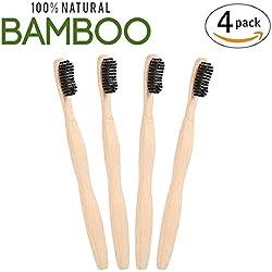 Unionshopping Conjunto de 4 Cepillos bambú con puro de bambú madera, Vegano, biodegradable, 100% libre de BPA cerdas con carbón vegetal de bambú para mejor Limpieza
