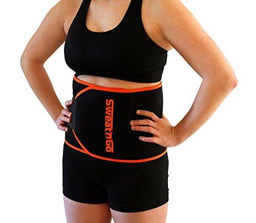 Sweat 'n' Go Fitnessgürtel für Männer und Frauen – Schwitzgürtel zur Fettverbrennung – Bauchweggürtel zum Abnehmen für Damen und Herren (schwarz)
