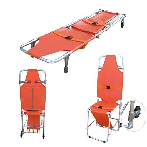 Notfall-Rettungs-Bahre-Aluminiumklappstuhl-Bahre-Krankenwagen-Feuerwehrmann-Evakuierungs-Treppen-Stuhl mit 2 Führungsrädern Einfach, aus den Grund zu bringen