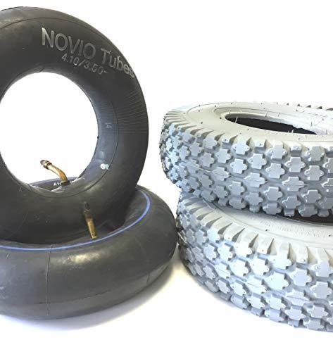 Rollstuhlreifen 2 Stück 4.10/3.50-5 grau + 2 Stück Schlauch Winkelventil, Reifen kräftiges Blockprofil, Stabiler 4 PR Reifenaufbau, Rollstuhl Reifen für Elektromobil, Scooter, E-Rollstuhl - 3-rad-rollstuhl