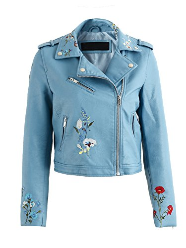 Simplee Apparel Damen Jacke Kurz Blumen Sticker Cusual PU Leather Zipper Jacke Bikerjacke Blau