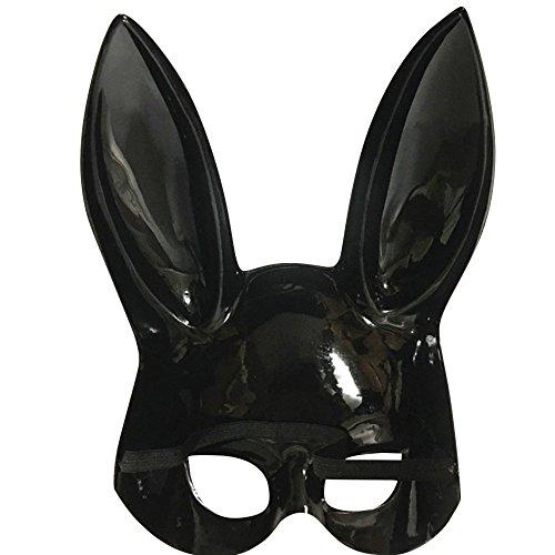 Bunny Maske Frauen Masquerade Hasenmaske Kaninchen Maske Bunny Rabbit Maske für Geburtstagsfeier Ostern Halloween Bar Kostüm Cosplay Zubehör (Helles Schwarz, Weiß) (Schwarz) ()