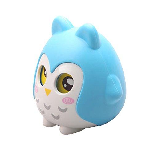 Búho en forma de hucha monedas de dinero de dibujos animados caja de ahorro de banco con los ojos en movimiento (azul)