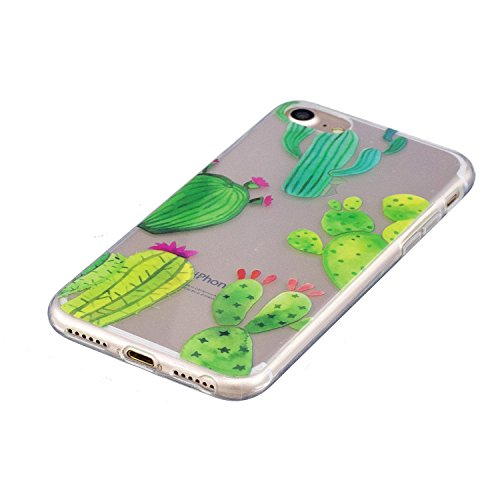 Cover iphone 7 / iphone 8 , iphone 7 / iphone 8 custodia , Cozy Hut iphone 7 / iphone 8 cover Morbido TPU Custodia [Ultra sottile] [Leggera] [Assorbimento-Urto] Paraurti in TPU Morbida Protettiva Case cactus