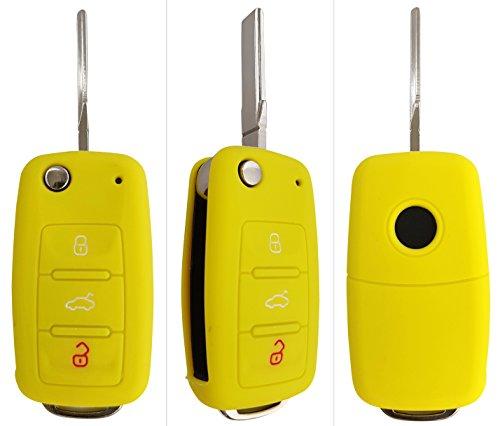 CK+ Seat Auto-Schlüssel Hülle Key Cover Case Etui Silikon für Ibiza Leon Alhambra Altea Toledo Exeo - Gelb (Auto Seat Cover)