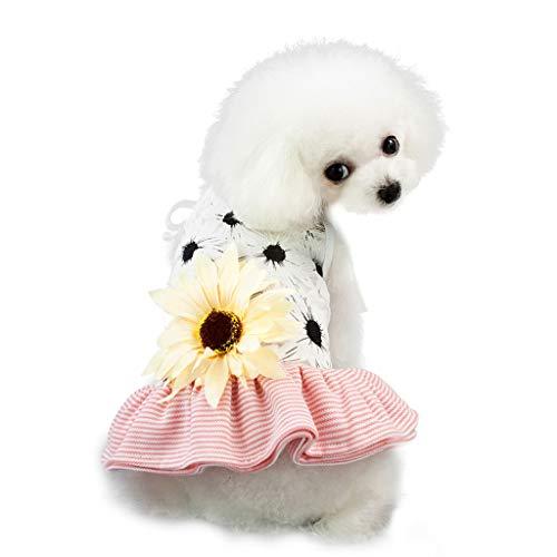 Robemon Hundekleider Prinzessin Sonnenblume Sling Rock Kleid Hundekleider Fasching Blumendruck Kontrastfarbe Schnüren Pet Hund Kleidung