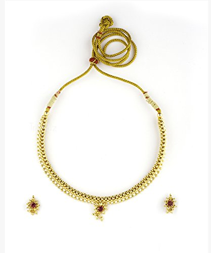 Womens Trendz Fancy Broad Moti Thushi 24K Gold Plated Alloy Necklace and Earring Set  available at amazon for Rs.470