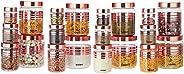 Amazon Brand - Solimo Plastic Storage Container Set (20 pieces, Copper Finish)